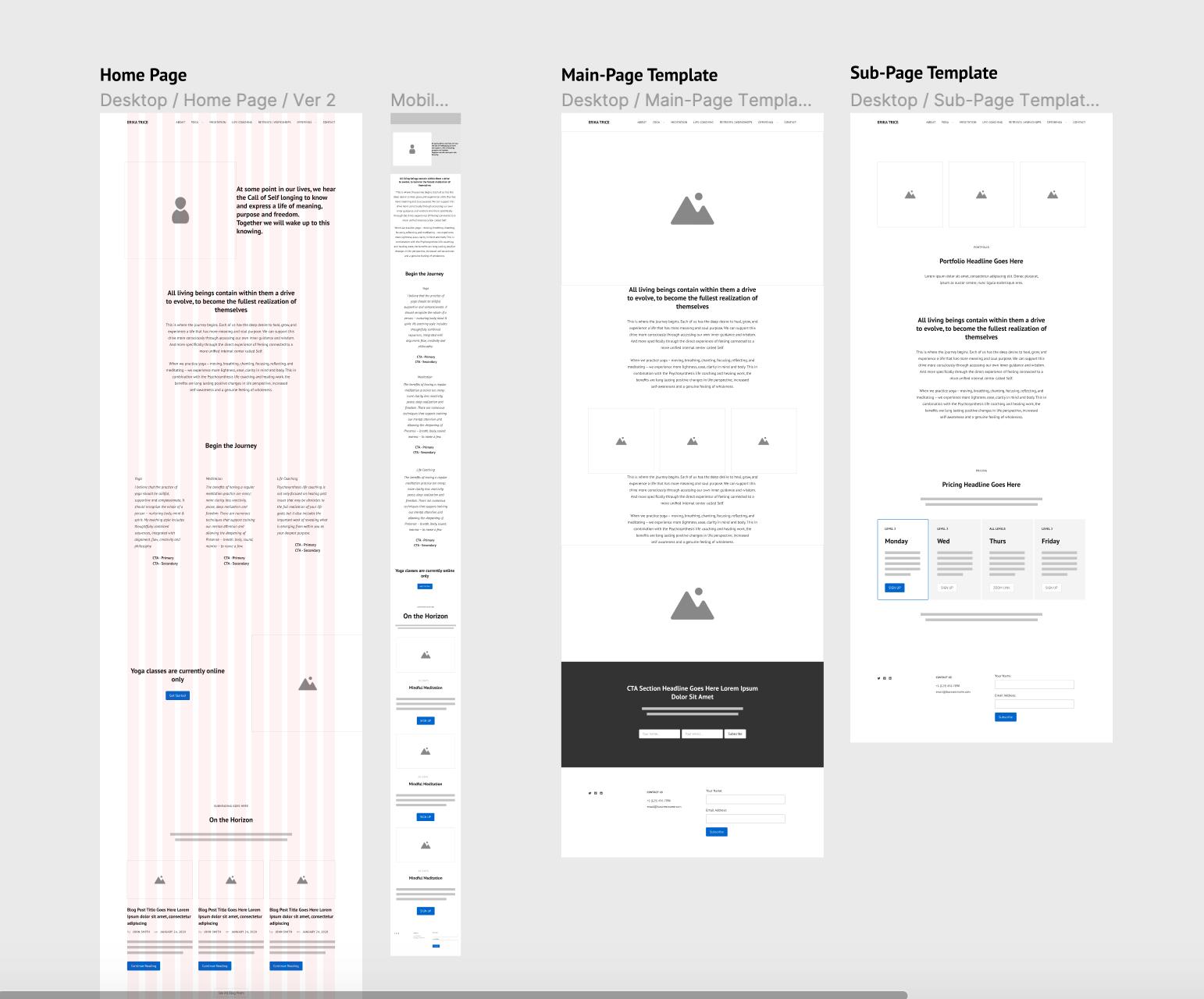 Responsive wireframes for client's website design