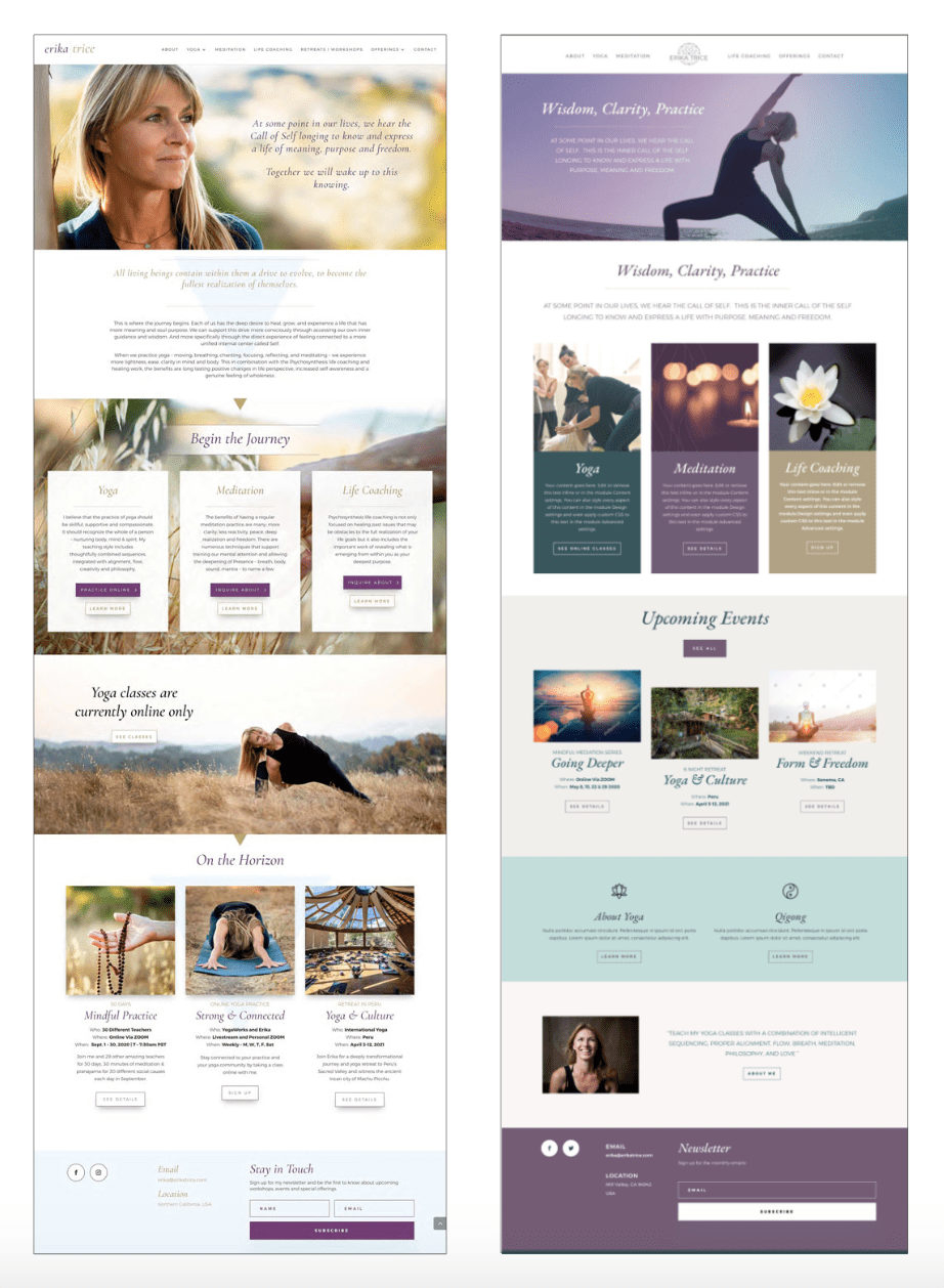 2 design versions of client's website home page
