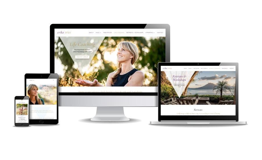 Responsive website design shown on mobile, tablet, laptop, and desktop screens